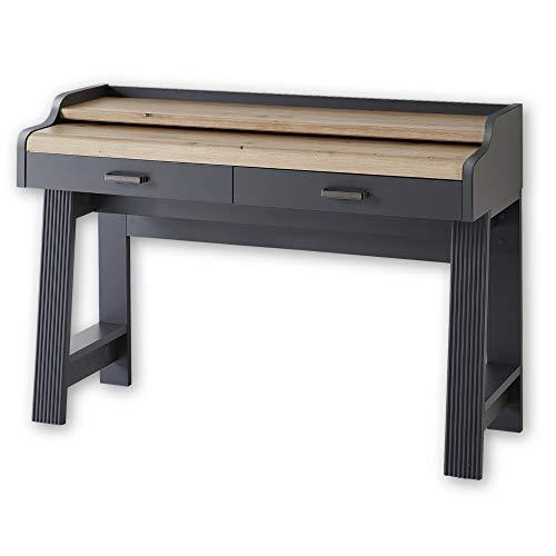 JASMIN Sekretär Schreibtisch in Graphit, Artisan Eiche Optik - Bürotisch mit Schubladen und ausziehbarer Tischplatte - Landhausstil Büromöbel Komplettset - 120 x 84 x 53 cm (B/H/T)