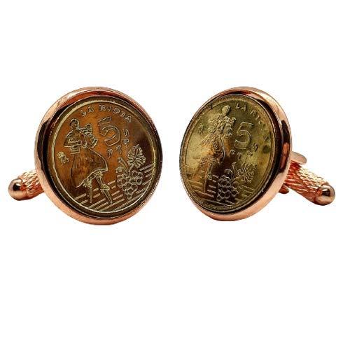 Gemelos para camisa: Genumis Rioja - Moneda 5 pesetas 1996 España - Color Oro Rosa - 18 mm