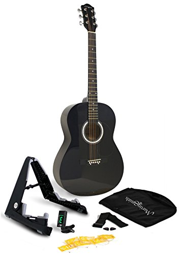 Martin Smith W-101-BK-PK Acoustic Guitar Super Kit with Stand (Black)
