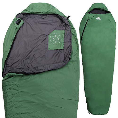 Tough Outdoors All Season Hooded XL Sleeping Bag with Compression Sack - Perfect Compression Sleeping Bag for Backpacking & Camping (Free Spirit XL: 40-65F Temperature Rating)