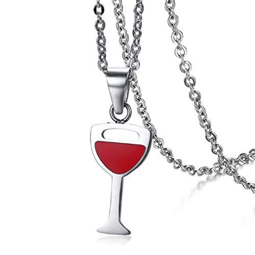 FOXI YOUTH Personalisierte Mens Womens rote Farbe Rotwein Glasform Edelstahl Anhänger Halsketten