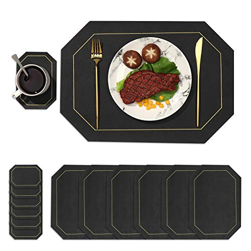 DYJKOUG Faux Leather Placemats and Coaster Mats Set of 6, Heat-Resistant Table Mats, Anti-Skid Washable Placemats for Kitchen Dinning Table Plates Pots Dishes Cookware(Black)