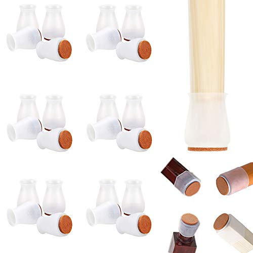 """Silicone Chair Leg Floor Protectors with Felt, Extra Small Fit 0.7"""" to 1.3"""" Glide Silicon Chair Leg Caps Protectors for Hardwood Floor Furniture Leg Feet Cover Bottom Slide No Scratches No Noise"""