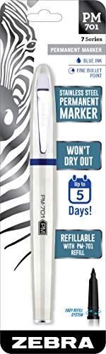 Zebra Pen 65121 Zebra PM-701 Stainless Steel Permanent Marker, Fine Bullet Tip, Blue Ink, 120 Hours Cap Off Time, Refillable, 1-Count, 1 Pack