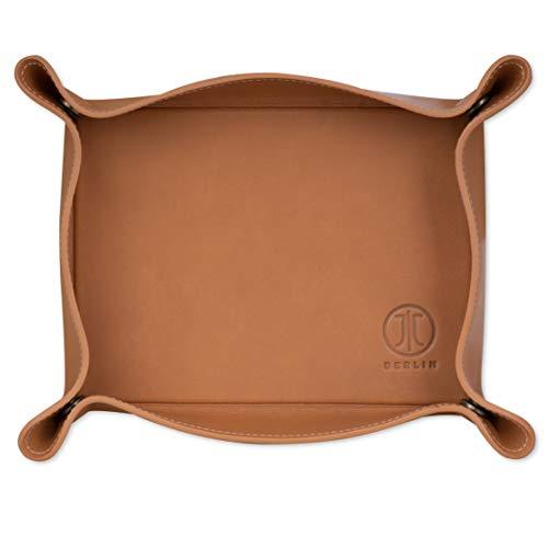 Preisvergleich Produktbild JT Berlin Echtleder Taschenleerer für Büro und zu Hause in Cognac - [180x130mm,  Aufbewahrungsbox für Kleinteile,  Druckknöpfe in den Ecken