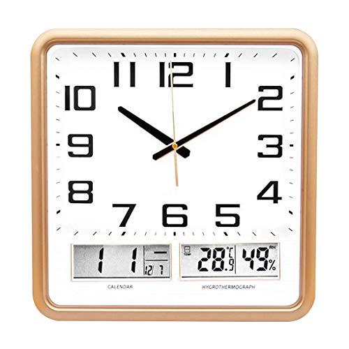 Reloj De Pared Creativo Cuadrado Reloj De Pared Led Tiempo Digital Temperatura Pantalla Mute Multifunción Reloj Noche Luz Función Reloj Pared Pared De Madera