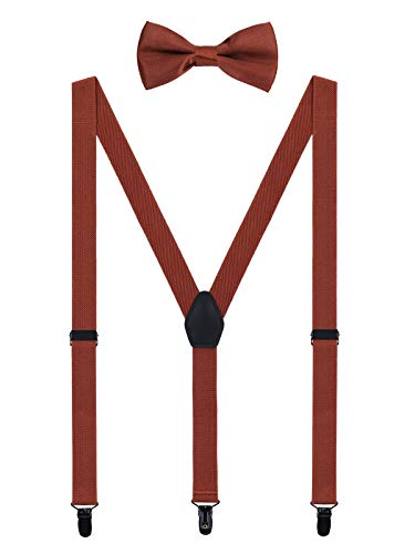 WANYING Herren Hosenträger Fliege Set - 3 Schwarz Clips Y Form 2,5cm Hochelastisch Hosenträger für Herren 150-200cm - Retro Braun