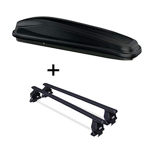 VDP JUEASY300 300Ltr Coffre de Toit Noir + Barres de Toit Menabo Tema Acier Chevrolet Aveo 5 Portes à partir de 2012