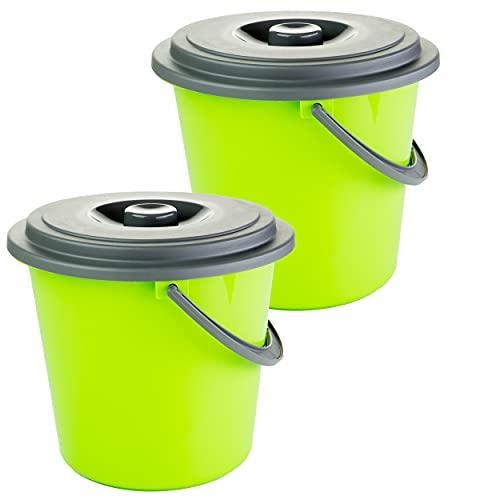 Eimer mit Deckel 10 Liter Kunststoff Lebensmittelecht 2 Stück Farbe: grün