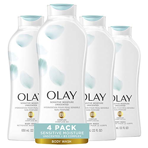 Olay Sensitive Moisture Unscented Body Wash, 22 fl oz, Pack of 4