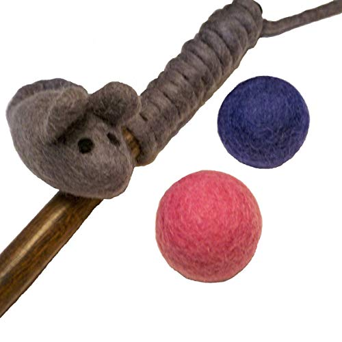 Earthtone Solutions Felt Cat Teaser Wand Toy - Organic Wool Mouse Wand Toy Plus 2 Felted Ball Toys for Indoor Cats and Kittens (Cat Mouse Toy)