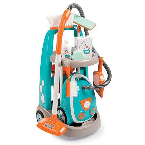 Smoby - Chariot de Menage + Aspirateur - Electronique avec Bruit d'Aspiration - 9 Accessoires - Piles Incluses - Jouet pour Enfant - 330309