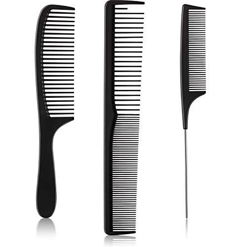 3 Pièces Ensemble de Peigne à Cheveux Noirs, Peigne de Coupe de Cheveux en Fibre de Carbone Peigne Fin Antistatique Peigne à Queue Peigne de Coiffure pour Salon de Coiffure