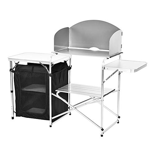 Cocoarm aluminium klaptafel campingkast campingkeuken met opbergvakken, 146 x 45 x 80 cm