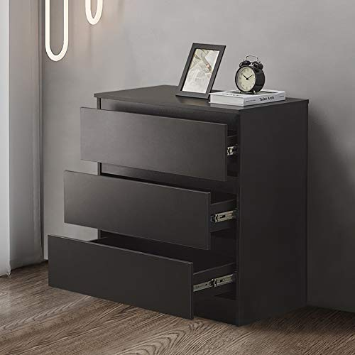 OFCASA 3-Drawer Storage Cabinet Black Matte Chest of Drawers Wood Storage Table with 3-Drawer Bedroom Cabinet Clothes Organizer for Bedroom Living Room