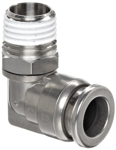 SMC KQG2 Series Stainless Steel 316 Push-to-Connect Tube Fitting, 90 Degree Elbow with Sealant, 3/8