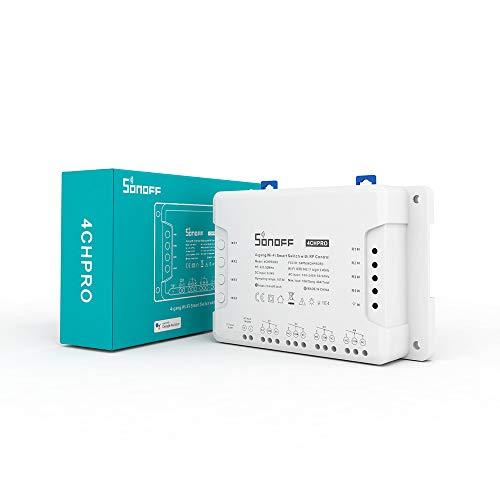 SONOFF 4CH Pro R2-Interruptor inteligente 4 Gang de enclavamiento para generador/Inching/Self-locking | Compatible con Amazon Alexa
