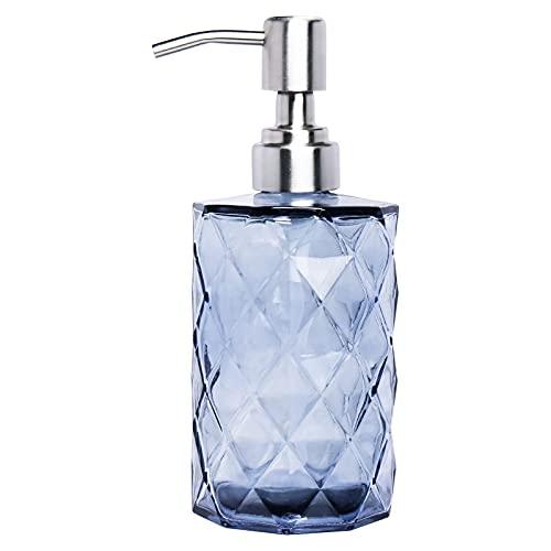 Quazilli Seifenspender Glas Vintage,Desinfektionsspender,Soap Dispenser,Seifenspender Grau Glas,Pumpspender&Spülmittelspender Glas Küache,Seifenspender Edelstahl Pumpe