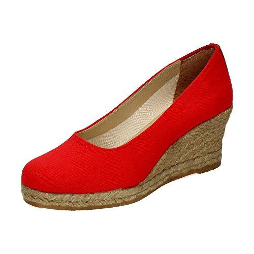 TORRES 4012 Zapatos CUÑA Esparto Mujer Alpargatas Rojo 38
