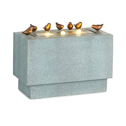 blumfeldt Waterbirds - Gartenbrunnen, Zierbrunnen, Dekobrunnen, LED-Beleuchtung, 60 x 47 x 30 cm (BxHxT), Material: Zement/Aluminium, für drinnen und draußen, Stromkabel: ca. 5 m, grau