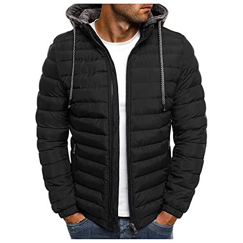 BIKETAFUWY Piumino da uomo, leggero, con cappuccio, tinta unita, giacca invernale trapuntata, con coulisse e chiusura lampo, per attività all'aria aperta, calda giacca a vento, Nero , XL