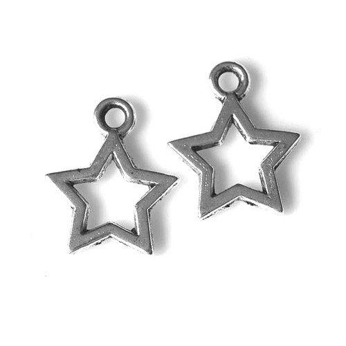 Tibetan Star Charm Pendants Antique Silver 10mm Pack of 100+