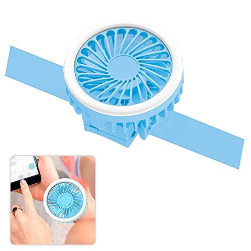 WSYW Ventilador de muñeca de refrigeración personal recargable por USB, pequeño ventilador de tercera velocidad ajustable para el hogar,deportes al aire libre, portátil, práctico ventilador azul