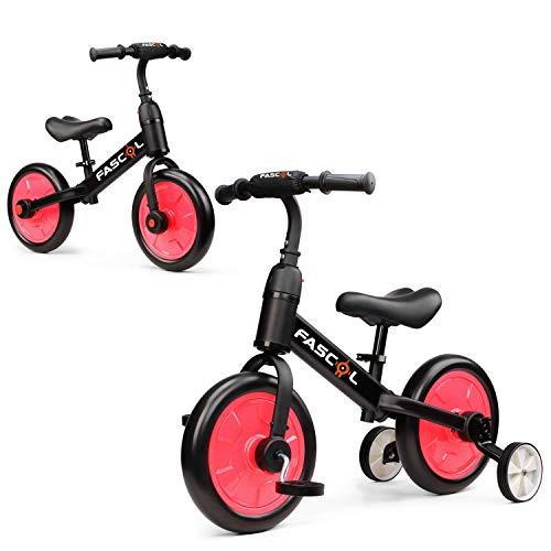 Fascol 3 in 1 Triciclo per Bambini Bicicletta Senza Pedali Triciclo Adatto per età 2-6 Anni (Rosa)