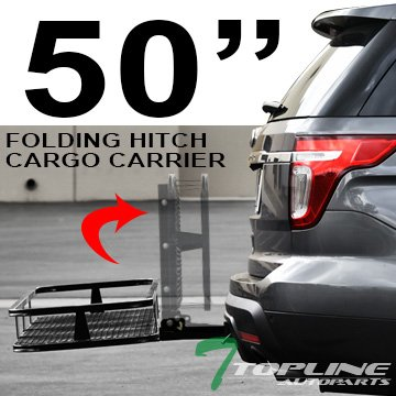 Topline Autopart 50' Universal Blk Mesh Steel Foldable Fold Up Folding Rear Bumper Mount Trailer Hitch Luggage Cargo Carrier Rack Hauler Basket Kit For 2' / Class 3 III Receiver Tube A2