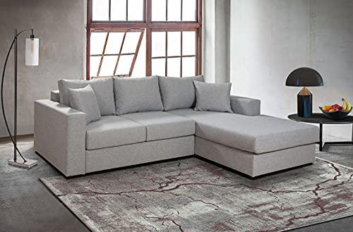 Tesla Dreams Leon - Divano angolare modulare con funzione letto, XL Longchair destra, con cuscino, divano, 255 x 210 R-Longchair, colore: Grigio