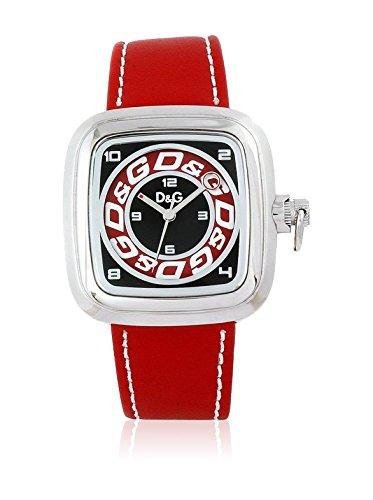 D&G DW0184 - Reloj de cuarzo analógico para hombre, acero inoxidable, correa roja, multicolor