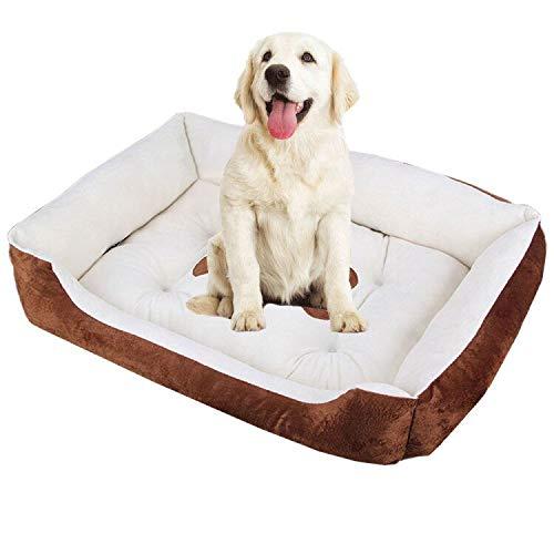 LAOSHIZI Camas para Perros Suave y Cómoda Antideslizante e Impermeable Lavable Colchón Cuadrado Marrón