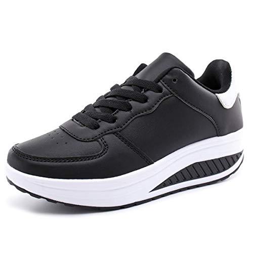 Mujer Zapatillas de Deporte Cuña Zapatos para Caminar Aptitud Plataforma Sneakers con Cordones Calzado de Tacón 4cm Negro EU 38