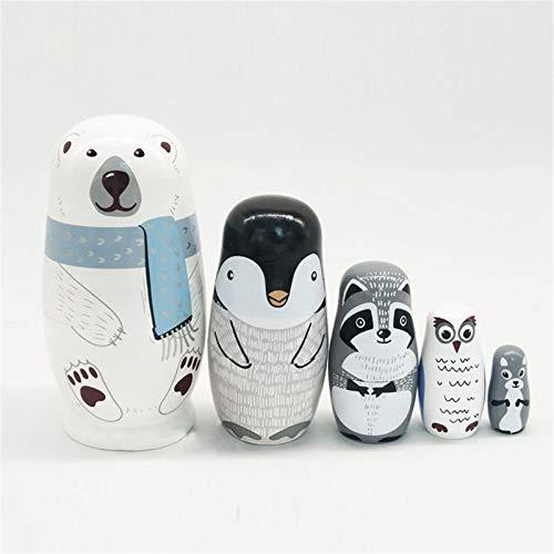 RAILONCH 5 Stücke Russische Matryoshka, Holz Eisbär Matroschka, Russische Puppen Spielzeug Russische Nesting Dolls Geschenk