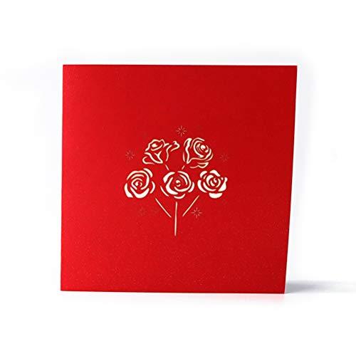ENJOYPRO Rose Bouquet Pop Up Card, Valentines day card, Mothers day card, 3D Rose Bouquet Card, Rose Flower Greeting Card With Envelope For Valentine's day, Mother's day (3D Rose Bouquet, Pack of 1) Photo #2