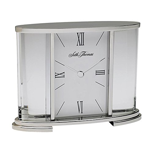 Seth Thomas Silver Glass Carriage Table Clock - 1 Year Direct Manufacturer Warranty