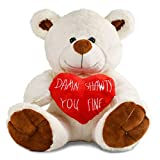 Tmacker 10 Inch Teddy Bear Stuffed Animals Plush Bear & Heart, Gifts for Valentines Day,Mothers Day,Wedding,Birthdays. Funny Gifts for Girlfriend,Boyfriend,Wife,Kids,Women,Husband and Friends-White