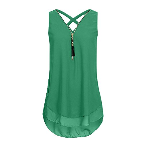 Women Tank Tops Comfort Solid V-Neck Basic Soft Stylish Casual Simple Blouse(Army Green,M)