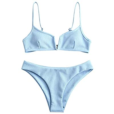 ZAFUL Women's V-Wire Padded Ribbed High Cut Cami Bikini Set Two Piece Swimsuit (Light Sky Blue, S)