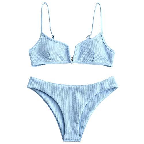 ZAFUL Women's V-Wire Padded Ribbed High Cut Cami Bikini Set Two Piece Swimsuit (Light Sky Blue, M)