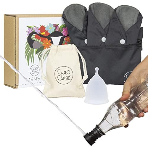 CuloClean Copa Menstrual (M) + 3 salvaslips reutilizables. Incluye bidé portátil y bolsitas. Silicona médica hipoalergénica y compresas de fibra de bambú.