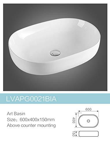 OrionShop Lavabo ad Appoggio in Ceramica Ovale 60x40x15 cm Bianco Lucido
