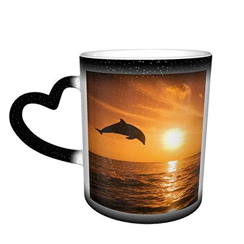 Kaffeetasse aus Keramik, 313 ml, für Kaffee oder Tee, Geburtstag, Festival, Weihnachten, Bottlenose, Delfin, springender Farbwechsel, Tasse im Himmel, Schwarz, Einheitsgröße