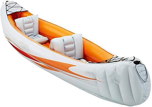 WYZXR Gonflable Canoë Kayak Explorer Deux ou Trois Groupe De Bateaux Gonflables Bateau De Pêche Épaississement Kayak Aéroglisseur De Bateau Gonflable pour Envoyer Bateau Hélice Pompe À Air/Orange