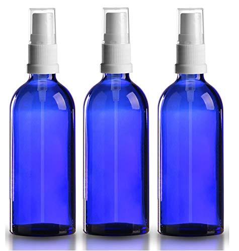 Set de 3 botellas 100 ml cristal azul con atomizador pulverizador blanco - spray pulverizador - para aceite esencial - uso aromaterapia - limpieza habitación