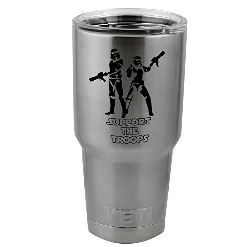 Support The Troops Stormtroopers Star Wars Inspired Vinyl Sticker Decal for Yeti Mug Cup Thermos Pint Glass (4' Wide - Decal ONLY, NO Cup)