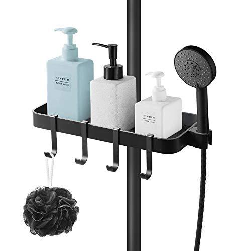 KINLO Duscharmaturen Duschregal ohne Bohren für Soap/Shampoo mit 4 Haken Schwarz Duschkorb/Duschablage Aluminium Rostfrei Badregale Ablage Halter für Badezimmer-Geeignet [24mm-25mm] Duschstange