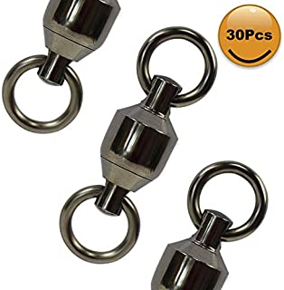 Croch 30Pcs Ball Bearing Swivels,100% Copper Stainless Steel Solid Welded Rings Fishing Tackle Swivels Connectors Saltwater Fishing Black Nickel