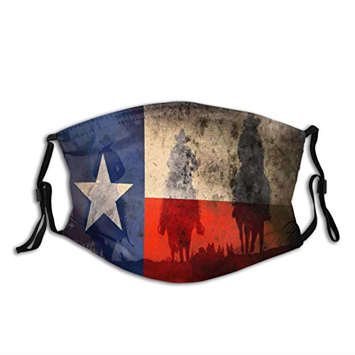 Texas Flag And Southern Cowboys Face Mask With Filter Pocket Washable Reusable Face Bandanas Balaclava With 2 Pcs Filters