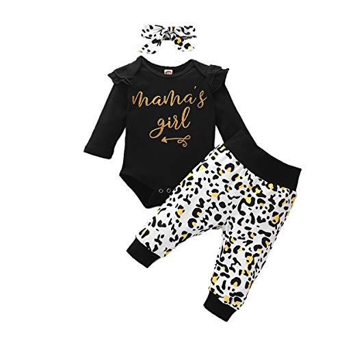 Carolilly - Conjunto de ropa para bebé niña de 3 piezas de manga larga con estampado de mamá 's Gires + pantalón estampado floral + diadema (0-24 meses) Negro 12-18 meses